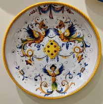 "**ITEM NOW SOLD** Italian 'Lucca' wall plate. 13.75"" d. 95.-"
