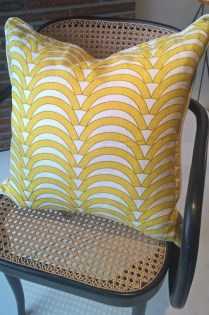 """**ITEM NOW SOLD** Jonathan Adler pillow. Approx. 2 years old. 20.5"""" sq. Orig. List: $125. Modele's Price: 65.-"""