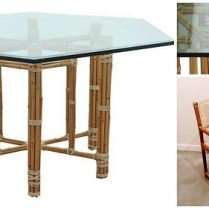 **ITEM NOW SOLD** McGuire Hexagonal Glass Table Dining Set with 6 chairs