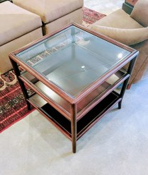 "**ITEM NOW SOLD** McGuire 'Open End Table'. Purchased in 2006. Designed by Laura Kirar. Discontinued style. 25"" sq. x 24""h. Original List: $2000. Modele's Price: 750.-"