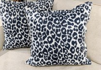 "**ITEM NOW SOLD** Pair custom pillows with Schumacher fabric. Midnight blue, 22"" sq. 175.- Pr."