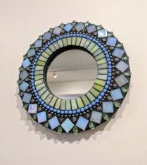 "**ITEM NOW SOLD** Mini 'Zatamari' mosaic mirror by Angie Heinrich. 7.5"" diam. Current List: $70.- Modele's Price: 35.-"
