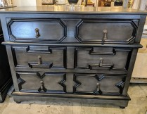 "**ITEM NOW SOLD** Noir Co. 'Watson' chest. Dark gray-black finish., 3 drawers. Purchased 2 years ago from GR Home. 40.5""w x 22""d x 32.25""h. Orig. List: $1600. Modele's Price: 495.-"