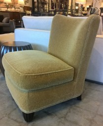 """**ITEM NOW SOLD** Pair Baker Barbara Barry slipper chairs in custom mohair with silver nail head trim. Purchased in 2001. Very light use, beautiful condition and very comfortable. 28.5""""w x 32""""d x 39.75""""h. Orig. List: $2400. EACH. Modele's Price: 2500.- PR."""