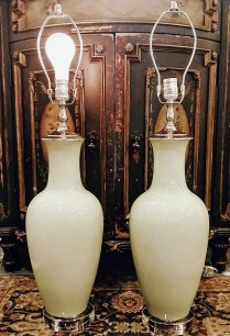 **ITEM NOW SOLD**Pair of Porcelain 'Celedon' table lamps. No shade. 100w with full range dimmer on cords. 650.-/ pair