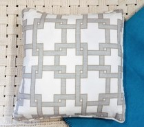 "**ITEM NOW SOLD**Pair Custom Square Pillows. Thom Filicia 'City Square II Misty Morn' Fabric. Feather down insert. 18""sq.90.- pair"