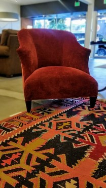 """** ITEM NOW SOLD.** Pair Donghia Shell Chairs. Current List over $4000.- each. Modele's Price: 2950.- PAIR ** ITEM NOW SOLD.**Also Pictured- Kilm rug. 52.5""""W x 9'6.5""""L. 750.-"""