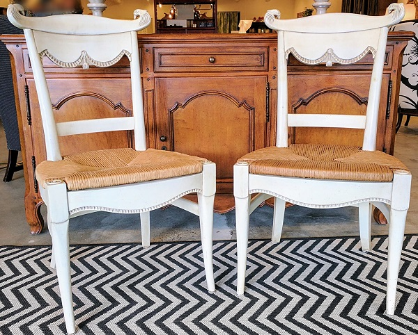 Pair Hickory Side Chairs 'Marseilles'. Painted 'Antique White' Original List. $1159.-Pair. Modele's Price: 450.- Pair