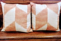**ITEM NOW SOLD**Pair Chevron Pillows (Ikat). Feather down filled inserts.125.- Pair