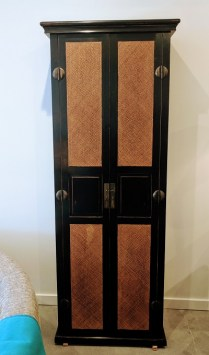 **ITEM NOW SOLD**Palacek Storage Cabinet. Approx 5-7 years old. Fixed shelves. Holes for cord escapes.595.-