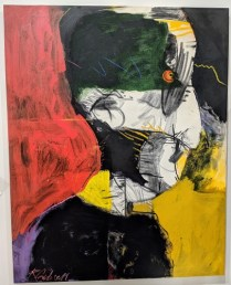 """**ITEM NOW SOLD** Reed Caldwell 'The True Believer', 1994. Acrylic, charcoal and pastel on canvas, 48""""w x 60""""h. Orig. List: $3000. Modele's Price: 1500.-"""