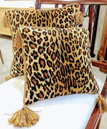 "** ITEM NOW SOLD.**Set 2 Animal Print Pillows. Foam fill. 13""sq + 15""sq.75.-"