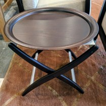 "**ITEM NOW SOLD** Stua 'Summa' tray table. Purchased 12 years ago from Design Within Reach. Legs and tray are sold wood. 21.5"" dia. x 17.5""h. List price: approx $350. Modele's Price: 185.-"