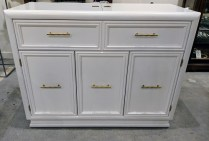 """**ITEM NOW SOLD** Vintage Thomasville server with custom painted finish. Brass hardware. Top flips open; great for bar or food service. 42""""w x 18.25""""d x 33""""h. 395.-"""