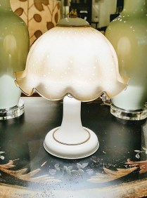 "**ITEM NOW SOLD** Vetri Murano blown glass lamp shade on metal base, 15"" high. 125.-"