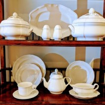 **ITEM NOW SOLD** Villeroy & Boch 'Chambord' 62 piece set (includes two covered serving pieces, platter, gravy boat, and teapot). Current List: Approx. $1,600. Modele's Price: 495.- set