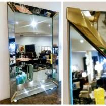 ** ITEM NOW SOLD.**Vintage Mirror with Brass Corner Detail. 350.-
