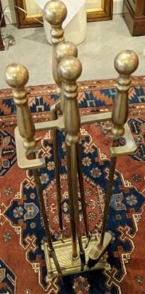 "**ITEM NOW SOLD** 5-Piece vintage antiqued brass fireplace tool set. 34.25""h. 75. set"