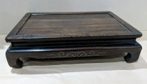 "**ITEM NOW SOLD** Wood pedestal with silver inlay detail. 11.5"" x 8"" x 3""h. 45.-"