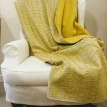 Yellow and Grey Pattern Fuzzy Fussenegger Throw.