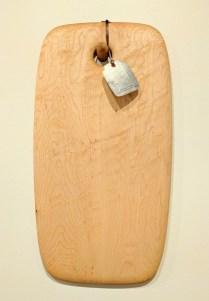 "Edward S. Wohl cutting board. 9.5"" x 18"" 120.-"