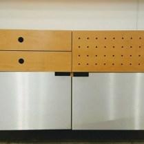 ** ITEM NOW SOLD.**Christopher C. Deam (Architect)'Gallery Blonde' storage cabinet. Original Retail Price: $2650. Modele's Price: 1295.-