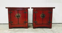 *ITEM NOW SOLD*Pair Antique Red Chinese Chests. 350.- /pair.