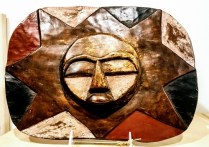 African Carved wood Sun face. Age unknown. 50.-
