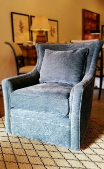 ** ITEM NOW SOLD.**Jessica Charles 'Delta' Swivel Chair. Current Suggested Retail Price: $2415.- Modele's Price: 750.-