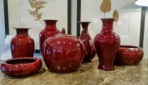 Selection of Oxblood Vases. Oxblood glazed porcelain purchased in Hong Kong in 1997. Various sizes/prices. Ranging from 45.-85.