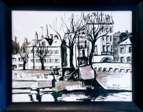 "**ITEM NOW SOLD**Framed Painting 'Metz France, 1959'. Signed. Charcoal/Ink/ Watercolor. 28.25"" w x 22.75""h275.-"