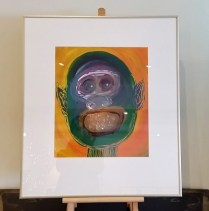 "**ITEM NOW SOLD**Juan Alonso Framed Painting' Illegal Alien II'. 1989. acrylic on paper. Signed. 22.75""w x 26""h.295.-"
