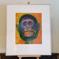 """**ITEM NOW SOLD**Juan Alonso Framed Painting' Illegal Alien II'. 1989. acrylic on paper. Signed. 22.75""""w x 26""""h.295.-"""