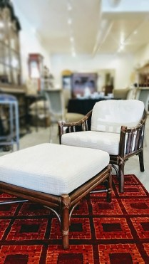 ** ITEM NOW SOLD.**McGuire Chair and Ottoman. Frame in Tobacco Finish. Discontinued Style. Original List Price: $3000.-$4000. in 2003. Modele's Price: 2100.-