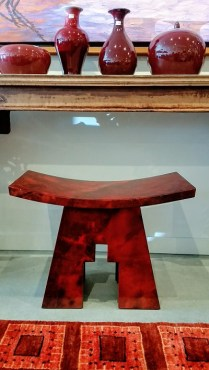 Vintage Karl Springer Parchment Accent Stool. Lacquered Goatskin over wood. Original Price:$1500.- Modele's Price: 750.-