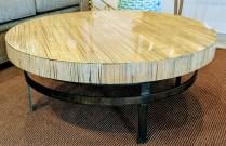 **ITEM NOW SOLD**Rom Lee Designs Custom Coffee Table. Bamboo Veneer suspended in resin. Cor-ten steel base. Original List: $2000.- Modele's Price: 975.-