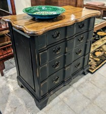 **ITEM NOW SOLD**'Century 4 drawer chest. Purchased in 2006. 'Weathered' black base with 'Tobacco' top. Drawers graduate in size.Original List: $2565. .Modeles Price: 695.
