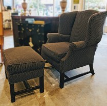 Edward Ferrell Wing Back Chair and Ottoman. 850.-