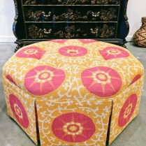 **ITEM NOW SOLD**Custom Octagonal Ottoman. Reupholstered one year ago. Buttoned top detail with pleats.550.-