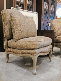 **ITEM NOW SOLD** Pair vintage/antique chairs covered in Fortuny Fabric with 2 pillows.1750.-/set