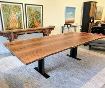 **ITEM NOW SOLD**Urban Hardwoods Custom live edge dining table.Walnut. Original List: $10,400.-Modele's Price: 6950.-