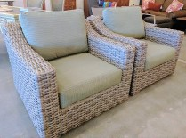 **ITEM NOW SOLD*Pair Sunlord outdoor wicker chairs with custom sun brella fabric. Covers for all pieces included.1200.-