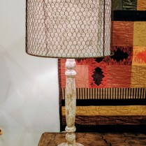**ITEM NOW SOLD**Aiden Gray Table lamp.. 5-6 years old. 3 way switch. Wire frame can be removed. Current List. $420.- Modele's Price: 195.-