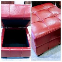 **ITEM NOW SOLD**Leather Storage Ottoman from Del Teet. Purchased in 2012. Original List: $350.- Modele's Price: 125.-