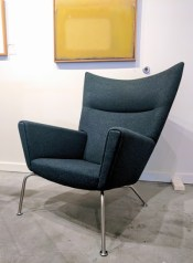 **ITEM NOW SOLD**Hans J. Wegner CH445 lounge 'Wing' chair. Produced by Carl Hansen & Sons, Denmark. Designed in 1960. 100% wool felt cover. Current List $6205.- Modele's Price: 2450.-