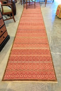 **ITEM NOW SOLD**Michaelian and Kohlberg Runner Rug. 'Swedish Block'. Purchased at Driscoll Robins 5-6 years ago.Hand knotted. Pad included (approx $175.- value).Original Price: $3,357.-. Modele's Price: 1500.-