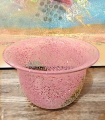 **ITEM NOW SOLD**Pink Speckled Glass Bowl/Vase. Signed.$40.-