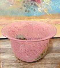**ITEM NOW SOLD**Pink Speckled Glass Bowl/Vase. Signed.$40.-