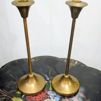 **ITEM NOW SOLD** Pair vintage brass candle sticks. Weighted bases. 65.-