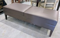 **ITEM NOW SOLD**Martin Brattrud 'Prestwick' upholstered bench. Quality faux leather. Stained maple legs. Current List: $2042.- + 4.25 yards material. Modle's Price: 950.-